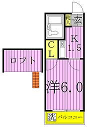 千葉県柏市新富町1の賃貸アパートの間取り