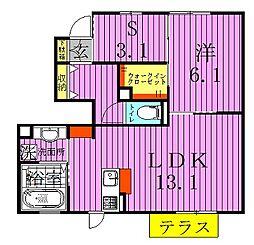 サイドガーデン南増尾[1階]の間取り