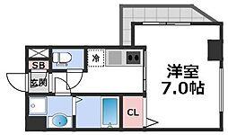 メビウス玉造レジデンスII 4階1Kの間取り