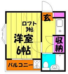 埼玉県越谷市蒲生南町の賃貸アパートの間取り