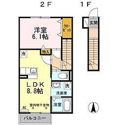 グランドゥールA[2階]の間取り