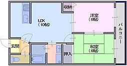 奈良県天理市前栽町の賃貸マンションの間取り