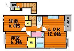 岡山県倉敷市上東丁目なしの賃貸アパートの間取り
