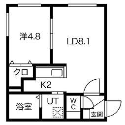 札幌市営東西線 西18丁目駅 徒歩15分の賃貸マンション 1階1LDKの間取り
