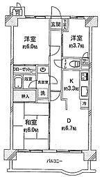 エクレール東川口[6階]の間取り