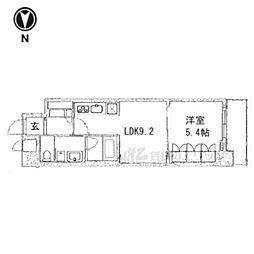 京都市営烏丸線 五条駅 徒歩13分の賃貸マンション 3階1LDKの間取り