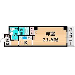 Osaka Metro谷町線 太子橋今市駅 徒歩2分の賃貸マンション 4階1Kの間取り