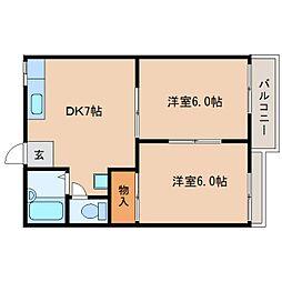 奈良県大和郡山市高田町の賃貸アパートの間取り
