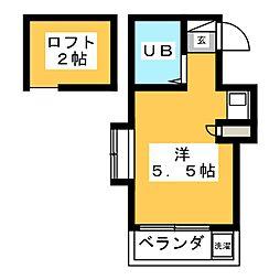 ピュアハウス若竹 2階ワンルームの間取り