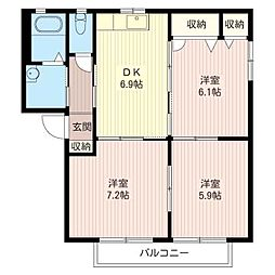 クレセントB[2階]の間取り