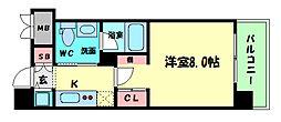 Osaka Metro長堀鶴見緑地線 西大橋駅 徒歩4分の賃貸マンション 6階1Kの間取り