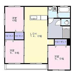 サンステージ東合川[1階]の間取り