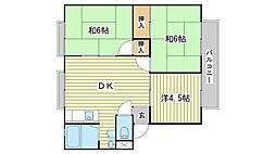 兵庫県姫路市広畑区蒲田2丁目の賃貸アパートの間取り