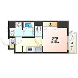 JR大阪環状線 寺田町駅 徒歩10分の賃貸マンション 5階1Kの間取り