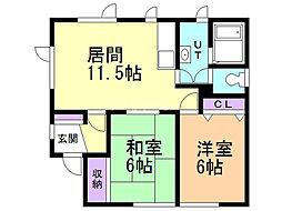 金田邸貸家 1階2LDKの間取り