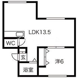 サンワイドハイツA棟 3階1LDKの間取り