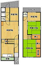 [一戸建] 兵庫県神戸市兵庫区下祇園町 の賃貸【/】の間取り