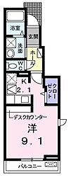 東京都福生市北田園2丁目の賃貸アパートの間取り