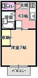 てぃんかあべる[2-D号室]の間取り
