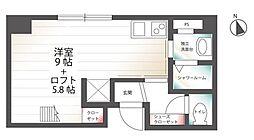 (ハーミットクラブハウスシリーズ)ブリティッシュクラブ宮川町 4階ワンルームの間取り