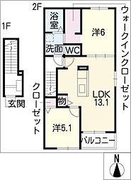 グラースカーサ A[2階]の間取り