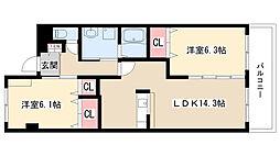 愛知県日進市浅田町大島の賃貸アパートの間取り