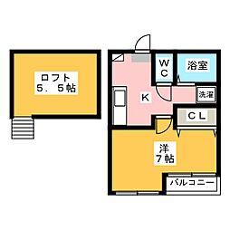 フローレス西新II[2階]の間取り