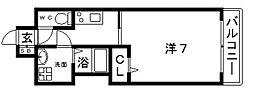 JR大阪環状線 寺田町駅 徒歩4分の賃貸マンション 13階1Kの間取り