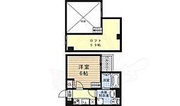 JR山陰本線 太秦駅 徒歩5分の賃貸アパート 2階1Kの間取り
