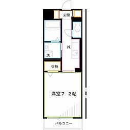 京王井の頭線 三鷹台駅 徒歩15分の賃貸マンション 2階1Kの間取り