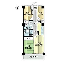 ライオンズマンション武蔵藤沢[4階]の間取り