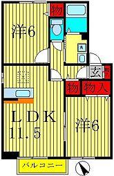 千葉県鎌ケ谷市西佐津間1丁目の賃貸アパートの間取り