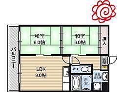 JR片町線(学研都市線) 徳庵駅 徒歩13分の賃貸マンション 2階2LDKの間取り