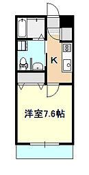 JR瀬戸大橋線 大元駅 徒歩12分の賃貸アパート 1階1Kの間取り