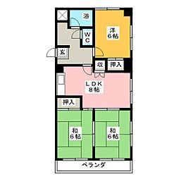 コーポひら野[5階]の間取り