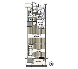 JR総武線 東中野駅 徒歩1分の賃貸マンション 13階1Kの間取り