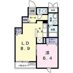 JR東海道本線 藤沢駅 徒歩28分の賃貸マンション 3階1LDKの間取り