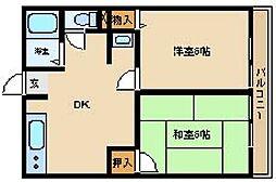 桐山ハイツ[1階]の間取り