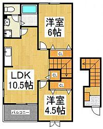 エクセルハイツ上宿A[2階]の間取り
