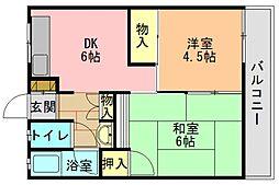 奈良県生駒郡三郷町勢野東1丁目の賃貸マンションの間取り