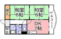姫松コーポ[4階]の間取り
