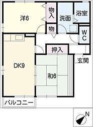フラワーパークB棟[2階]の間取り