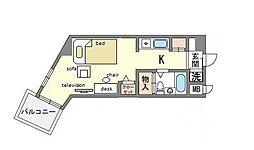 家具・家電付き 天神エクセル12 D[1階]の間取り