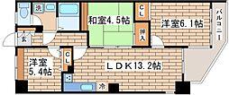 兵庫県神戸市須磨区清水台の賃貸マンションの間取り