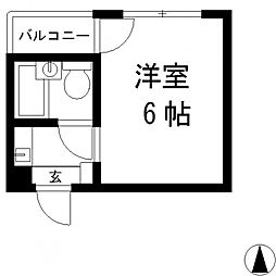 ジュネス八戸ノ里[206号室号室]の間取り