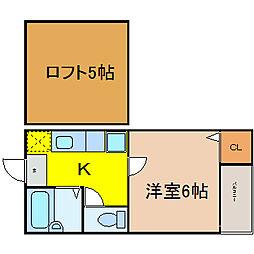 愛知県名古屋市西区幅下1丁目の賃貸アパートの間取り