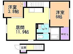 高盛町新築アパート 2階2LDKの間取り