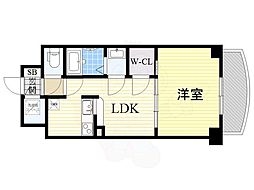 Osaka Metro御堂筋線 新大阪駅 徒歩5分の賃貸マンション 21階1LDKの間取り