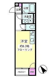 東急田園都市線 つきみ野駅 徒歩3分の賃貸アパート 3階1Kの間取り