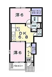 東京都清瀬市野塩4丁目の賃貸アパートの間取り